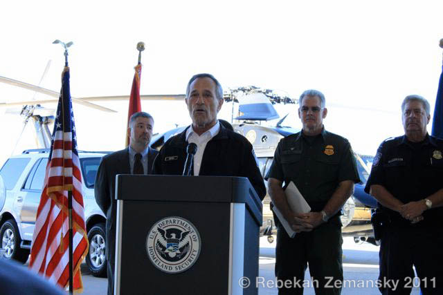 CBP commissioner Alan Bersin introduces a federal / local partnership called Alliance to Combat Tranitional Threats (ACTT) at Tucson's Davis-Montham Air Force Base; behind him (left to right) : ICE Special Agent Matthew C. Allen, CBP Tucson Sector Chief Randy R. Hill, CBP Director of Field Operations David P. Higgerson – 8 February 2011