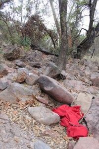 clothing left on trails west of Nogales in southern Arizona