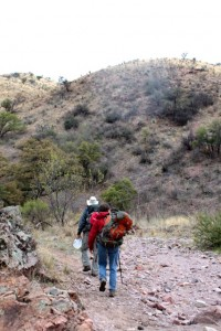 Samaritan volunteers hike on trails west of Nogales in southern Arizona