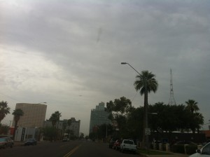 the sky over downtown Phoenix, Arizona on August 15th, 2012